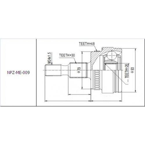 NTY Kloub poloosa vnější MERCEDES ML W163 320 98-
