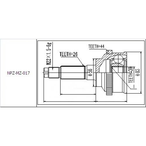 NTY Kloub poloosa vnější MAZDA 323 BG 1.8I 1.9I DOHC 89