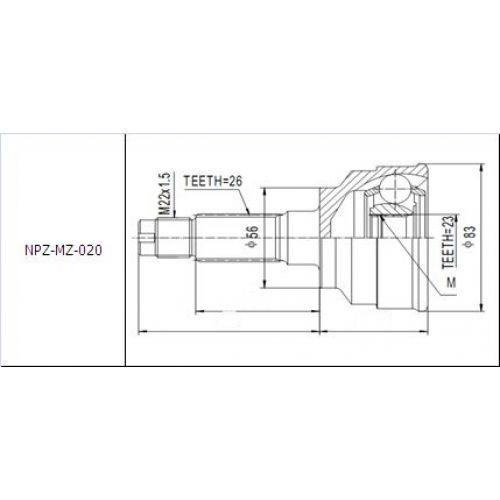 NTY Kloub poloosa vnější MAZDA 323 1.8 OHC 89-94 PROTEGE
