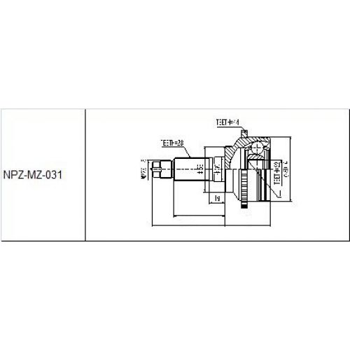 NTY Kloub poloosa vnější MAZDA 626 GF 1.8I 16V 97- XEDOS-6