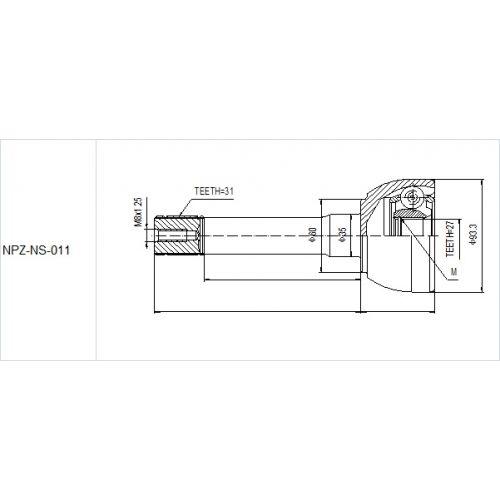 NTY Kloub poloosa vnější NISSAN PATROL GR Y60 2.8TD 88-97