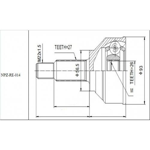 NTY Kloub poloosy vnější RENAULT TRAFIC II 1.9DCI 80 100