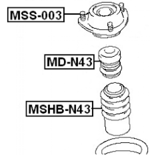 FEB Uložení tlumič MITSUBISHI SPACE WAGON N33W N43W 92-00