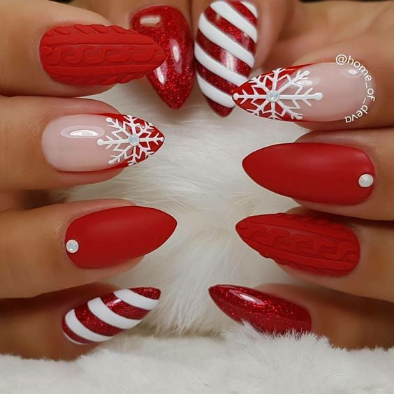 Xmas Nail Patterns: 30 Of The Hottest & Must Have Almond Nail Designs For 2019