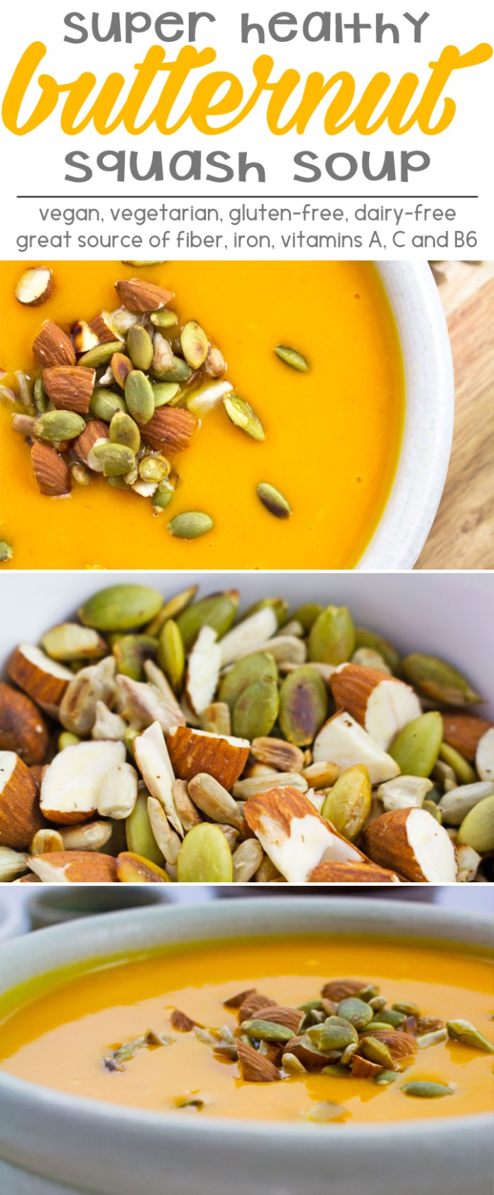 Butternut Squash Soup - Best butternut squash soup I've ever made! Loaded with vitamins and minerals, who knew it was so healthy? Vegetarian / Vegan / GF / Dairy Free.