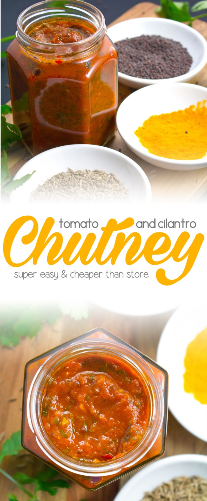 Tomato and Cilantro Chutney - You'll never buy store bought again after trying this easy and simple recipe! Packed full of spices and cilantro, you are going to want to eat this chutney with absolutely everything!!