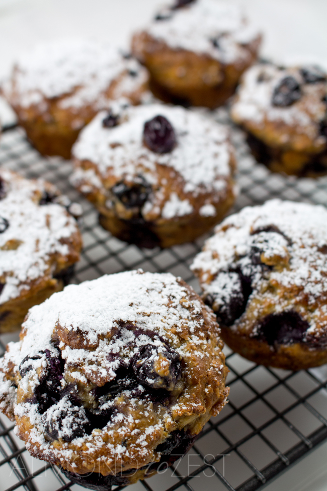 Blueberry Muffin Recipe - Made with Yogurt and Whole-wheat - Light and airy muffins made with whole-wheat flour and yogurt, loaded with plump, juicy blueberries! Healthy and guilt-free!!