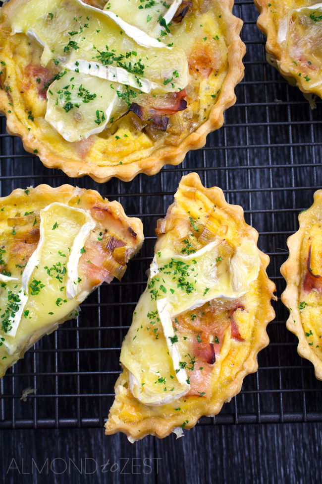 Caramelized Leek, Brie and Ham Quiche Recipe - Sweet caramelized leek, salty free-range ham & creamy brie. These used to fly out the door when we made them at our café!