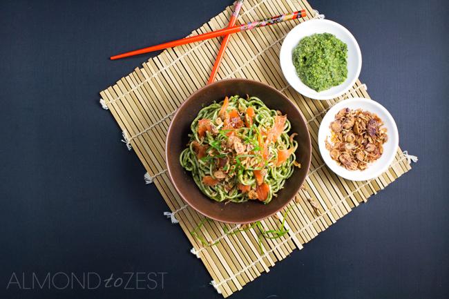 Soba Noodles with Nori Pesto and Salmon
