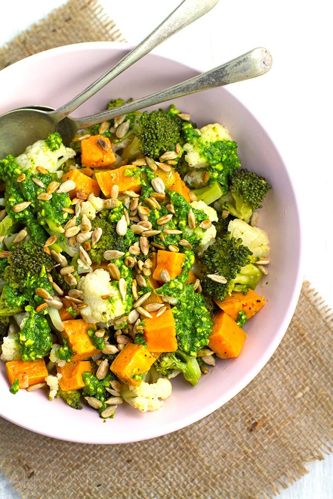 Sweet Potato, Cauliflower and Broccoli Salad with Basil Pesto and Sunflower Seeds