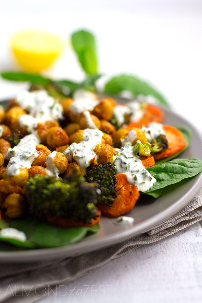 Roasted Broccoli, Carrot and Spicy Chickpea Salad