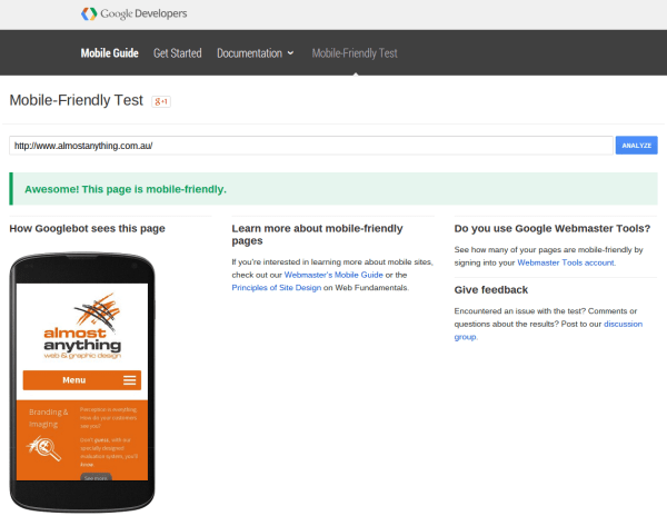 Does your website pass Google's mobile friendly test?