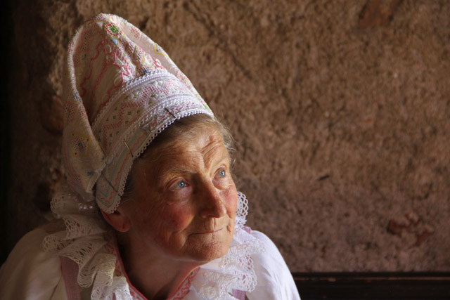An older Slovak woman in traditional kroj