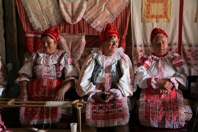 Slovak women dressed in traditional kroj