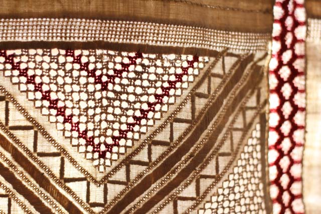 close up of embroidered cloth