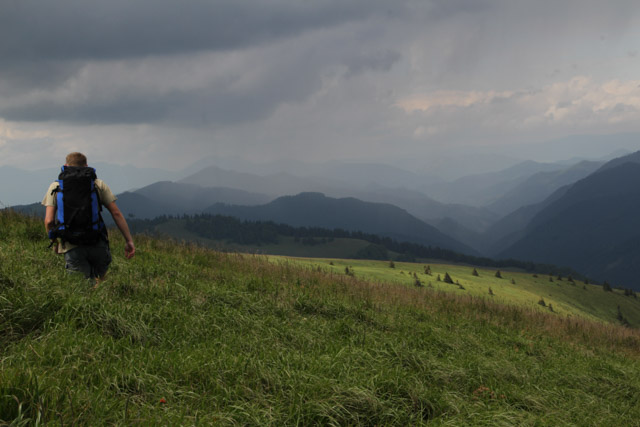 Man hiking with view on Mala Fatra