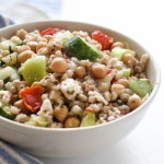 Chickpea and Barley Greek Salad - a filling meal salad