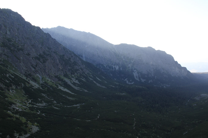 Light shines in the Tatra mountains of Slovakia