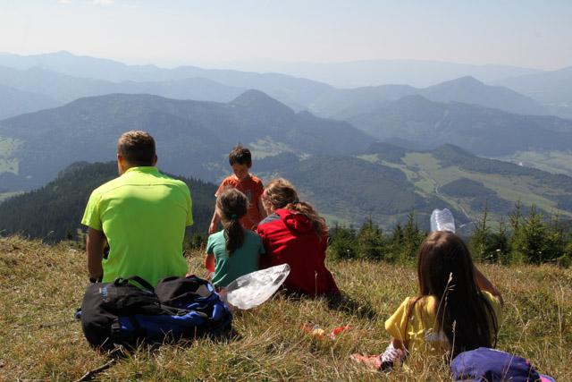 Lunch with a view up Veľký Choč, Slovakia