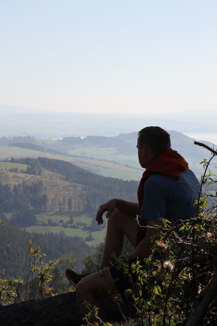 A hiker admires the view in Slovakia