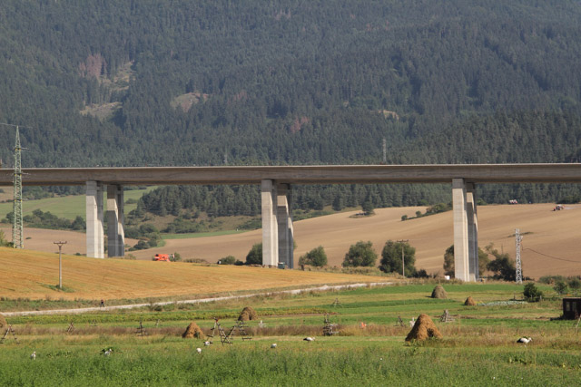 A superhighway being built behind Liskova, Slovakia