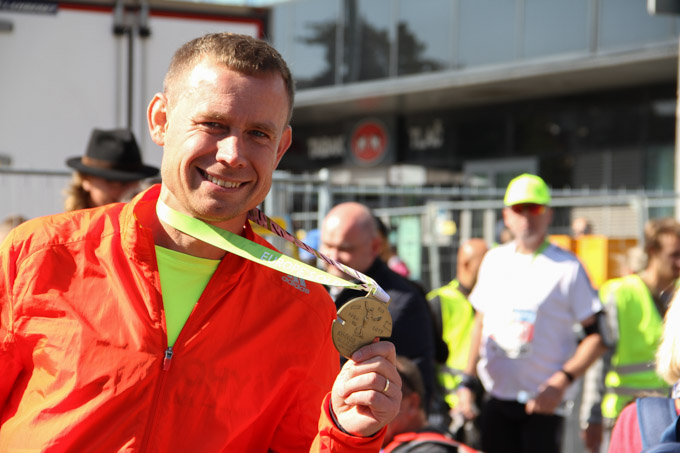 Happy half-marathoner at Kosice Marathon