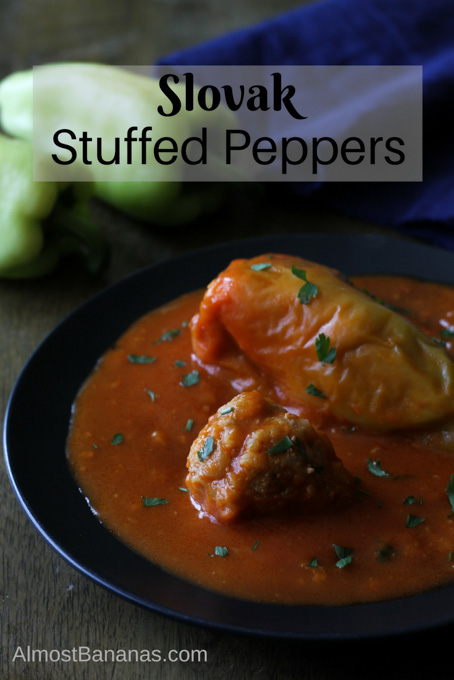 Slovak stuffed peppers are stewed in tomato sauce for a flavourful meal