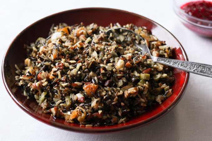 Wild Rice Stuffing with apricots, almonds, and sage