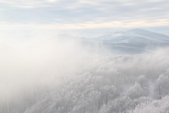 misty snowy mountains, Slovakia