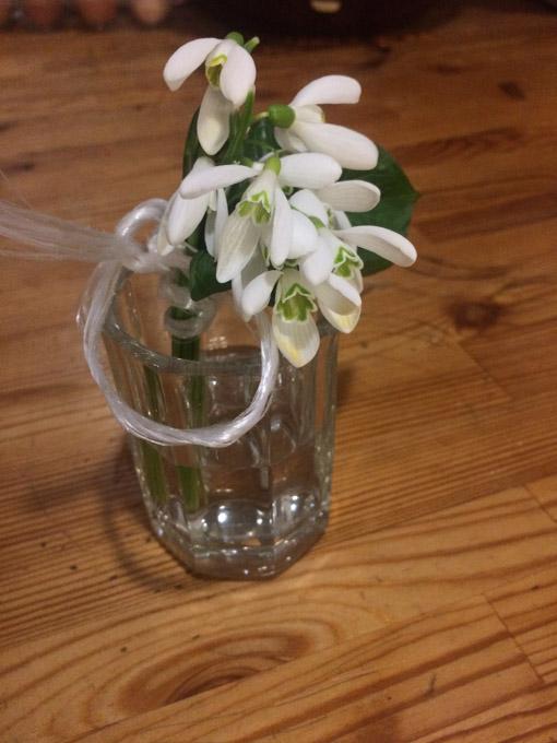 snowdrops on a shotglass