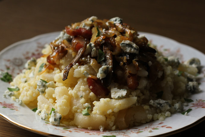Opantance, Slovak millet and gnocchi, with onions, bacon, oyster mushrooms, and blue cheese