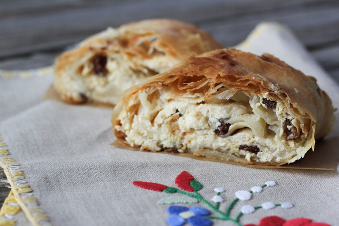 Tvaroh, or farmers' cheese, strudel