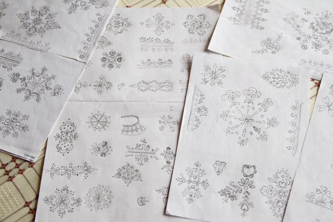 Slovak egg pattern sketches