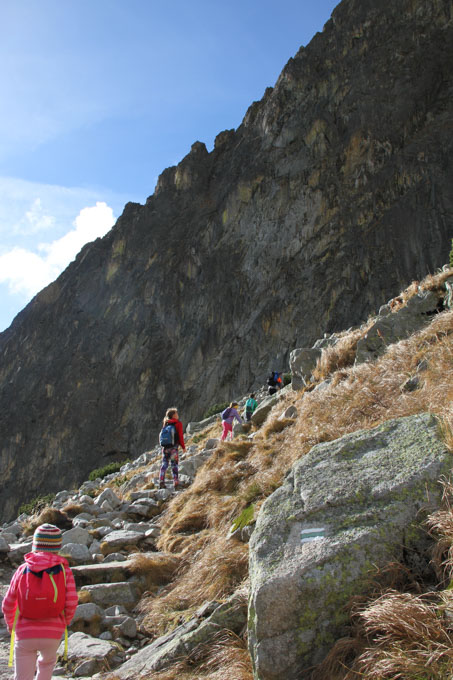 Hiking up the cliff to Teryho chalet, Slovakia