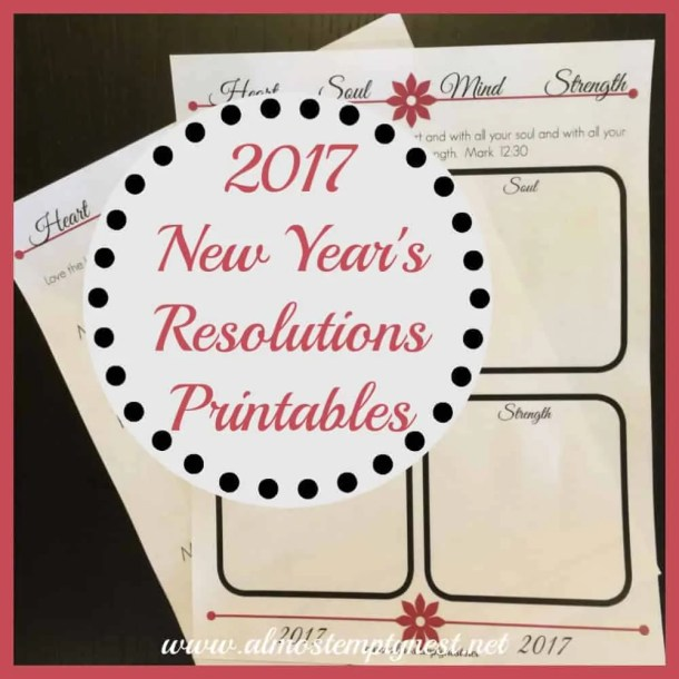 New Year's Resolutions using Mark 12:30 with free printables