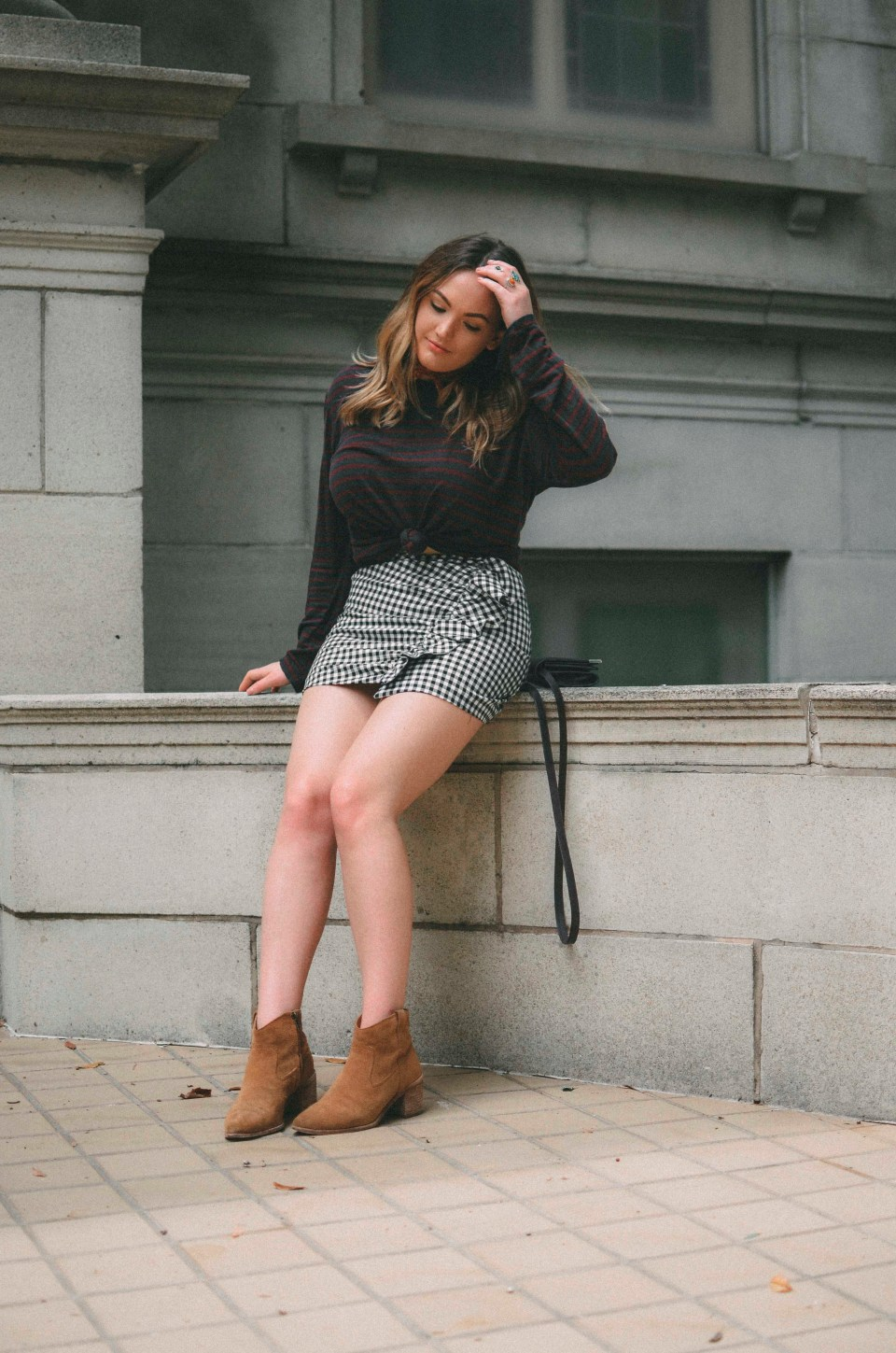mismatched stripes and gingham skirt