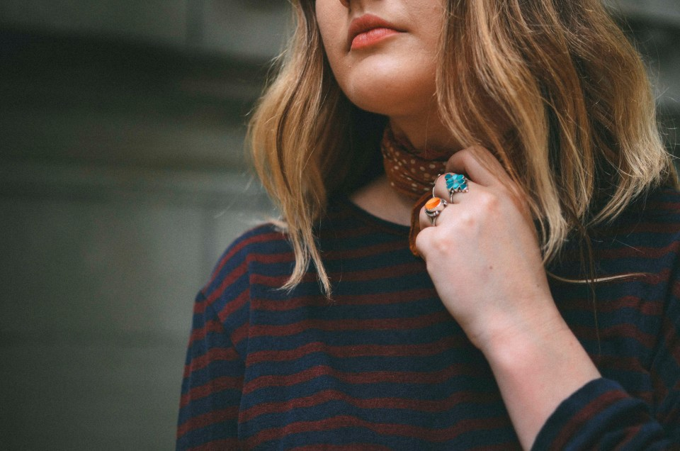 mismatched stripes and vintage rings