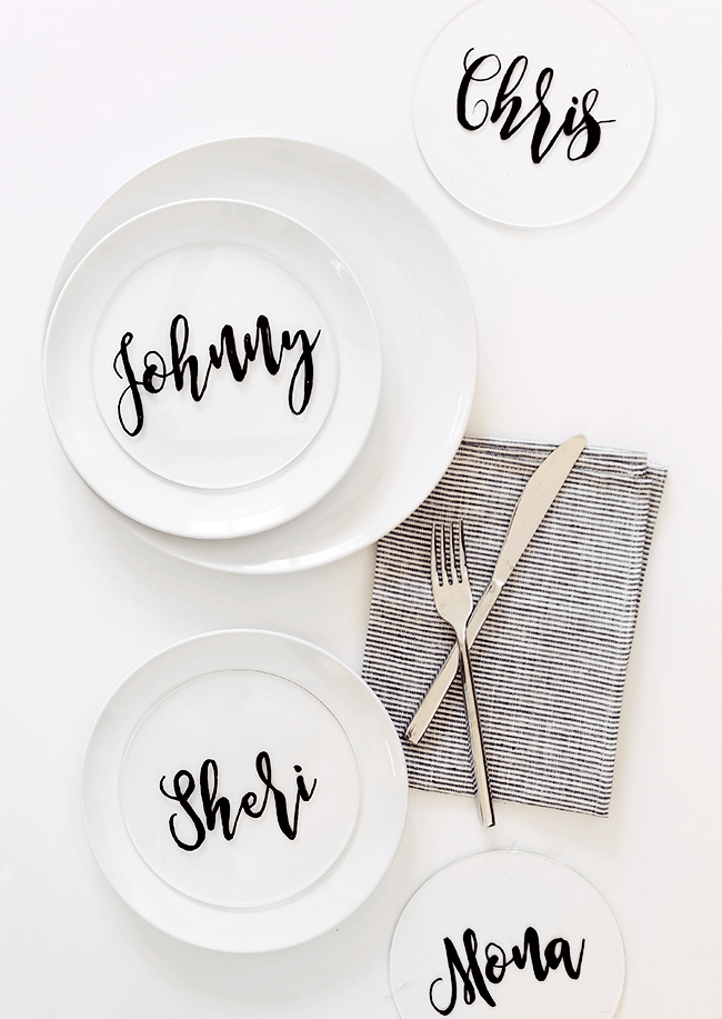 diy plexiglass calligraphy placecards | almost makes perfect