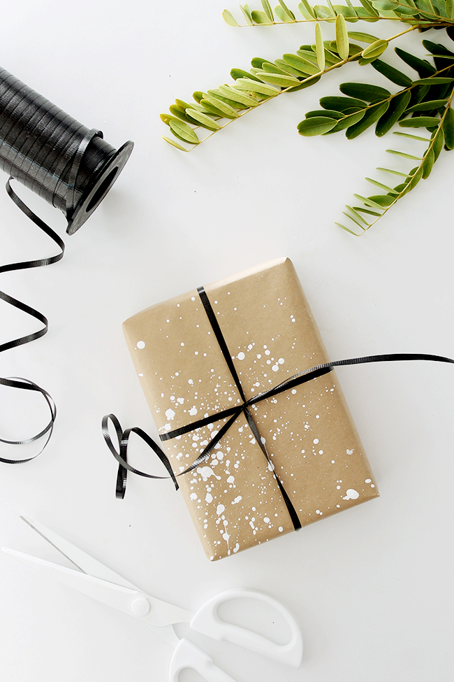 diy paint splatter gift wrap | almost makes perfect