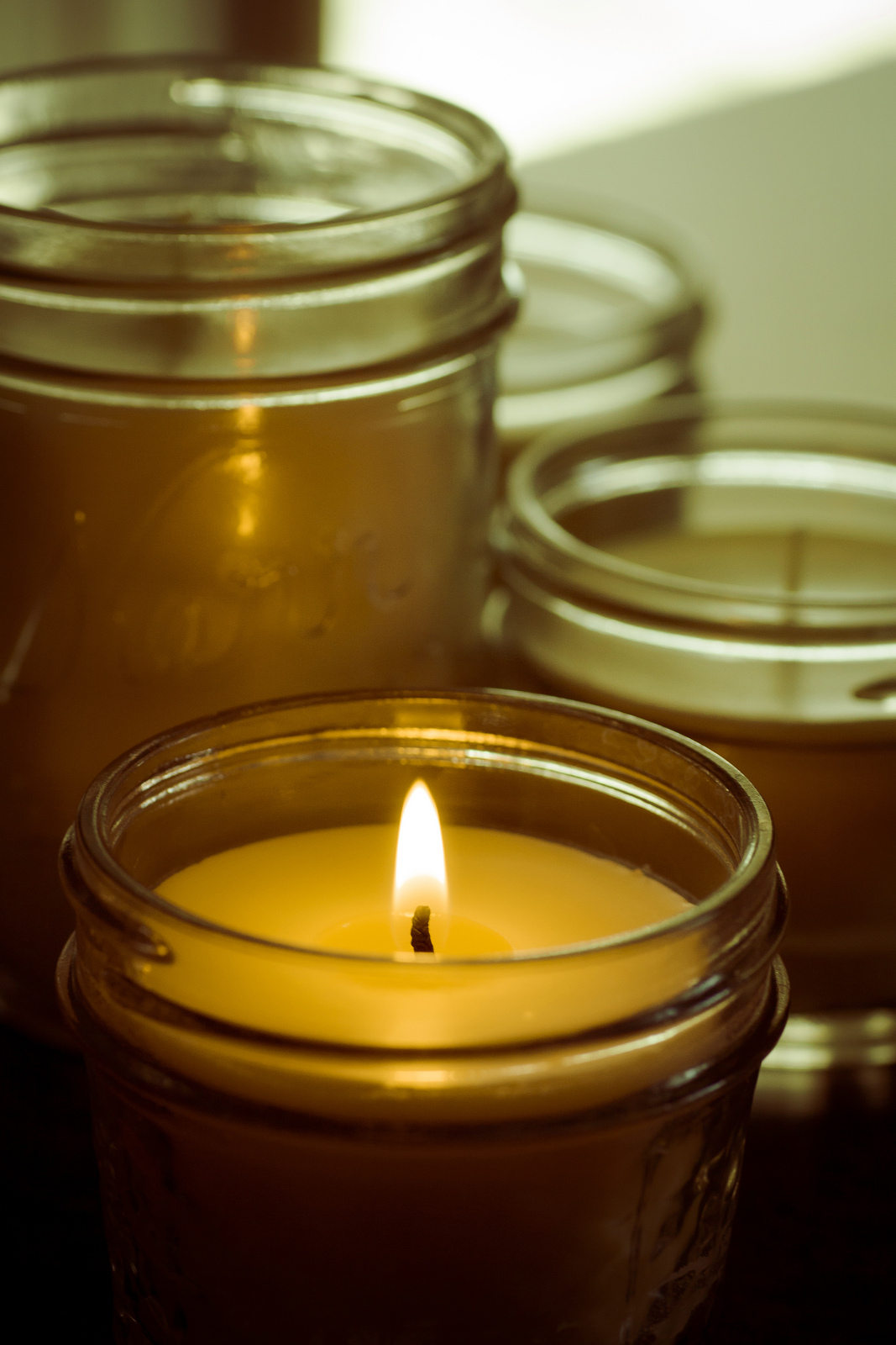 the ultimate budget holiday decor mason jar candles almost the real thing. Black Bedroom Furniture Sets. Home Design Ideas