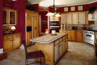 red and beige Kitchen |