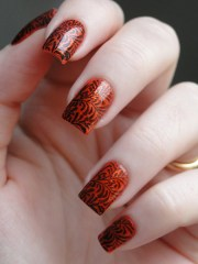 orange and brown nail art ideas