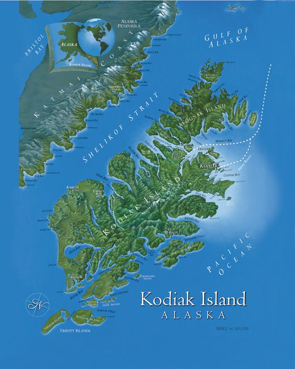 Getting To and Around Kodiak map