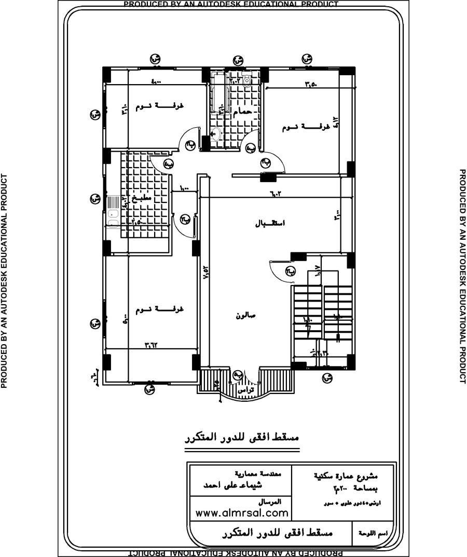 مخطط عمارة صغيرة مساحة الارض 200 متر مربع المرسال