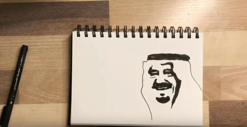 طريقة رسم الملك سلمان بالرصاص للمبتدئين المرسال