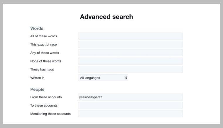 البحث المتقدم في Twitter