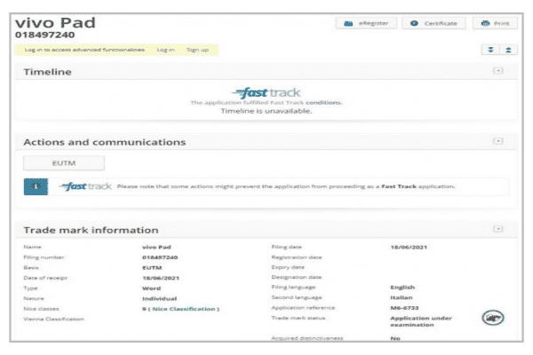 تسجيل Vivo Pad كعلامة تجارية