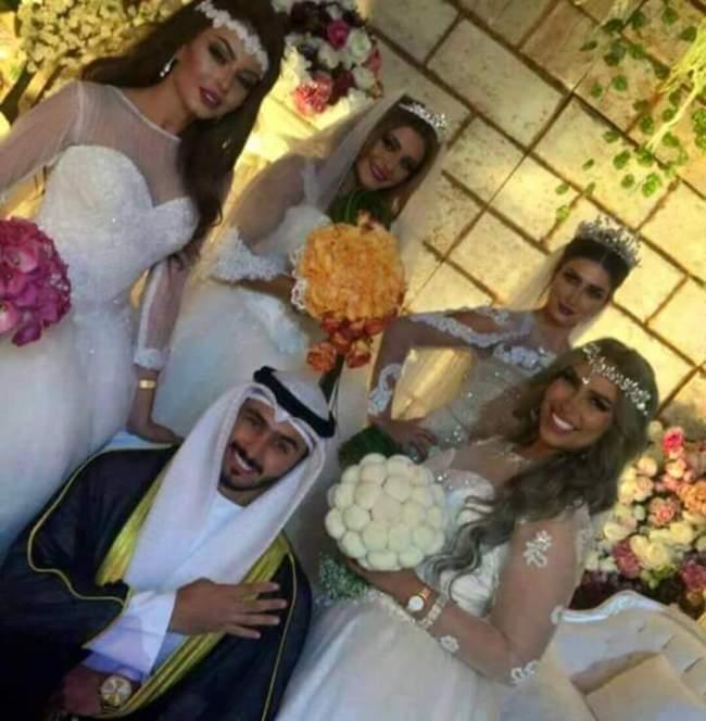شاب خليجي يتزوج من 4 فتيات حسناوات في ليلة واحدة