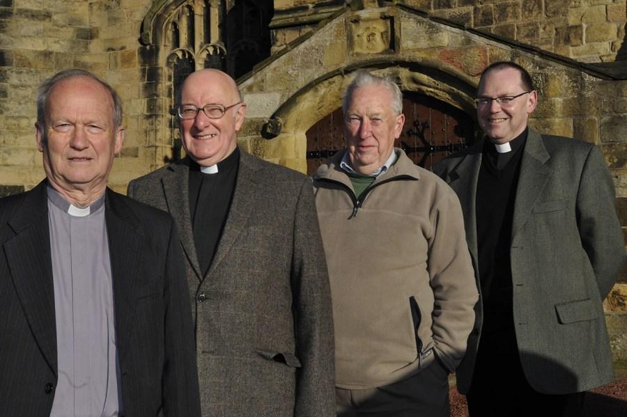 The Rev'd Canon Alan Craig, Rev'd Colin Perkins, Rev'd Canon Dennis Winter and Rev'd Paul Scott, Vicar. Photo Credit: Jane Coltman/Northumberland Gazette