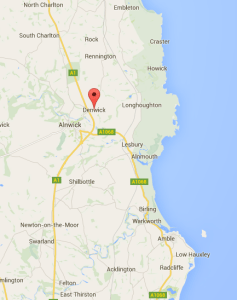 Map showing the location of Denwick, Northumberland